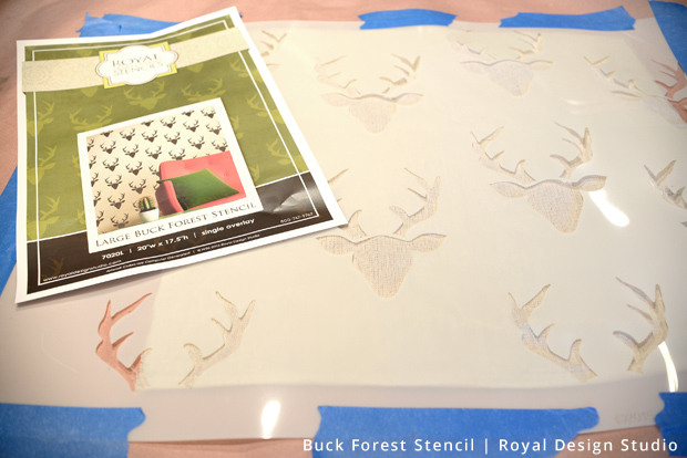 DIY Stencil Pillow | Buck Forest Stencil by Royal Design Studio