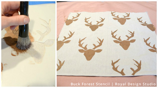 Stencil Pillow DIY | Buck Forest Stencil by Royal Design Studio