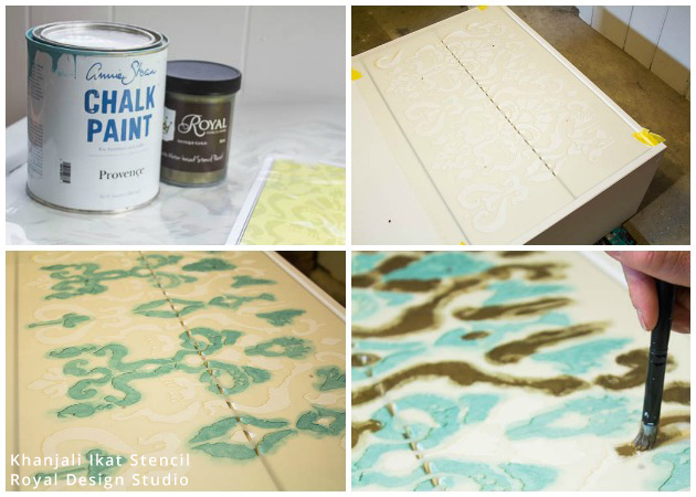 Chalk Paint on Ikat Stencil