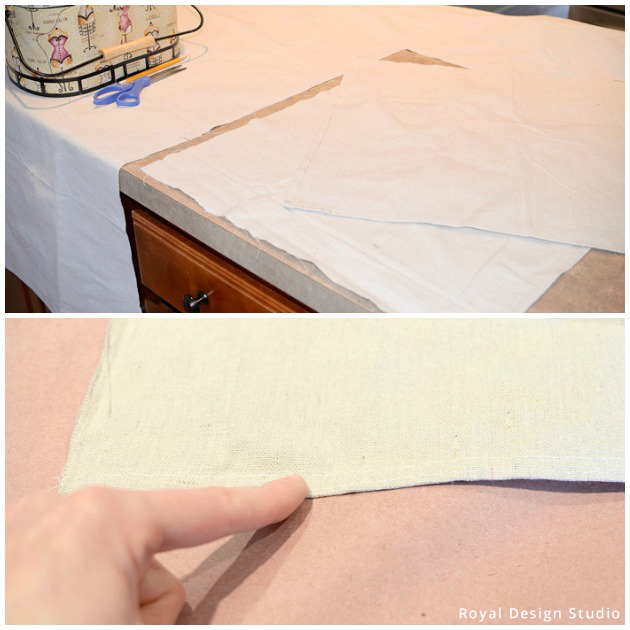 Sizing the Drop cloth for DIY Stenciled Pillow | Royal Design Studio