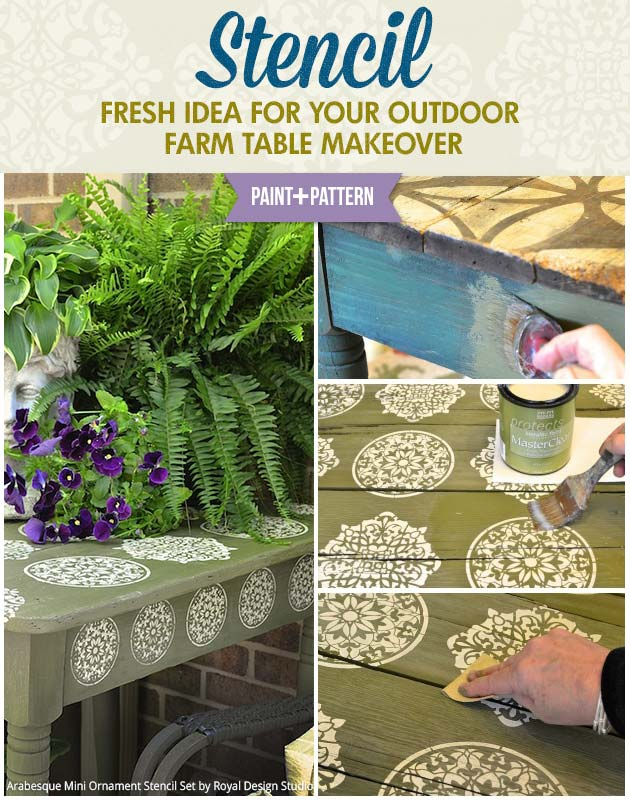 Outdoor Farm Table Makeover with Stencils | Mini Arabesque Ornaments Stencil Set by Royal Design Studio