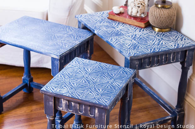 Nesting Tables Made Modern with Stencils | Tribal Batik Stencil by Royal Design Studio