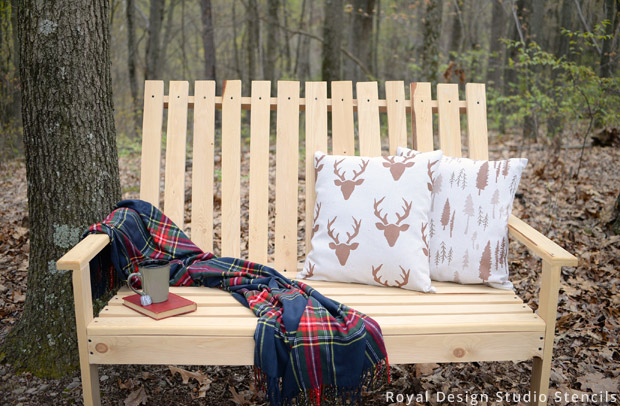 Outdoor Pillow DIY | Stencils by Royal Design Studio