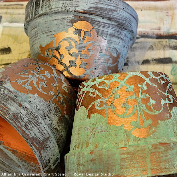 Stencil DIY: Gorgeous Patina Flower Pots Craft Project using Royal Design Studio Stencils