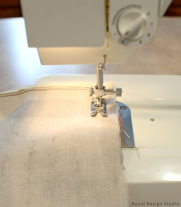 Sewing Outdoor Pillows from Drop Cloth DIY   Stencils by Royal Design Studio