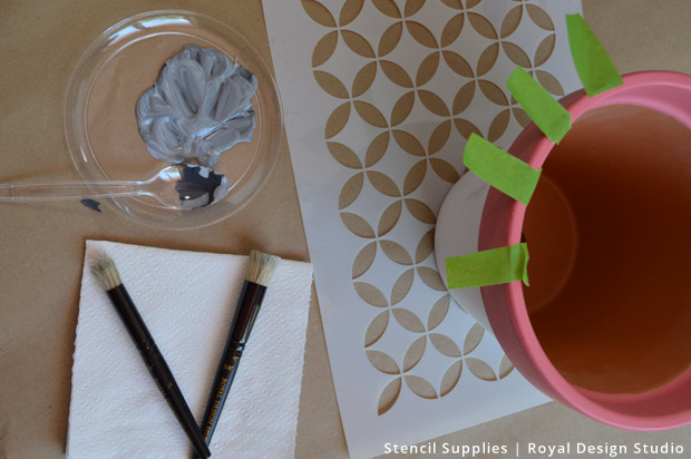 Stencil Supplies for Patio Planters | Royal Design Studio