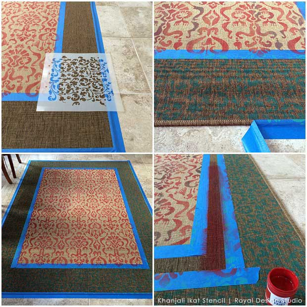 DIY steps for stenciling an inexpensive IKEA rug like an Oriental carpet using an Ikat stencil from Royal Design Studio