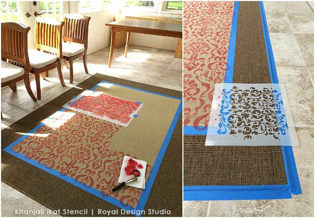 How to stencil an IKEA rug with an Ikat stencil . Great DIY tutorial
