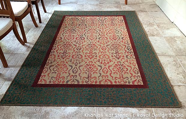 Stencil and IKEA rug with an Ikat stencil from Royal Design Studio to make a custom Oriental carpet