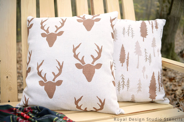 Outdoor Pillows from Drop Cloth DIY | Stencils by Royal Design Studio