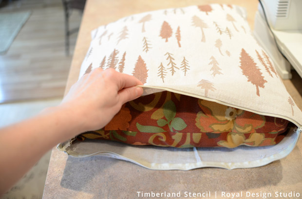Stuffing Pillow for Outdoor Pillows from Drop Cloth DIY | Stencils by Royal Design Studio