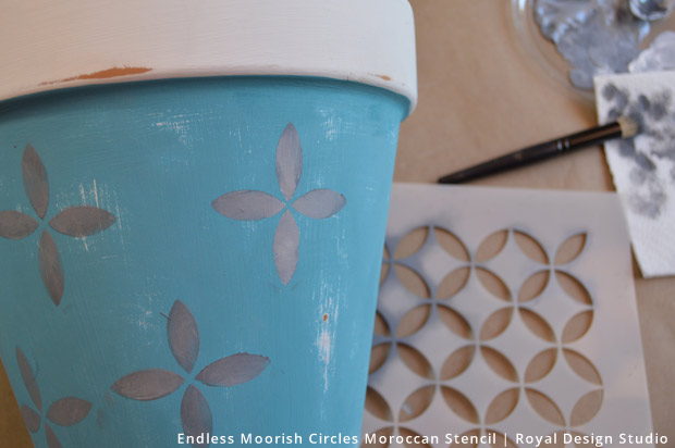 A Blooming Spring Time Stencil Idea for Patio Planters | Endless Moorish Circles Stencil by Royal Design Studio