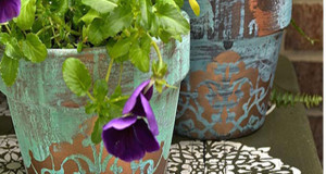 Stencil DIY: Gorgeous Patina Flower Pots