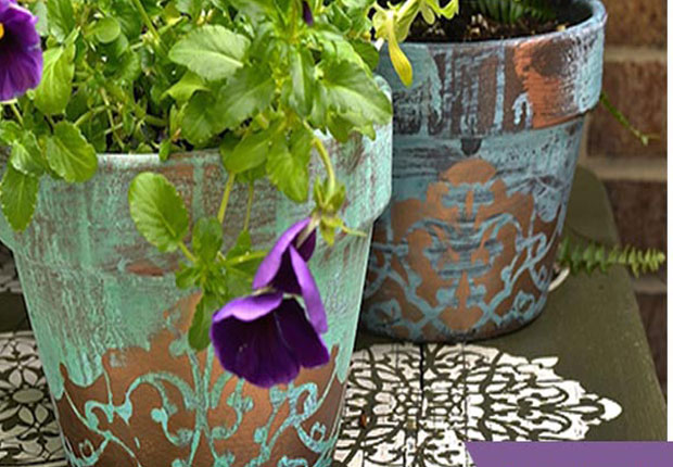 Stencil Diy Gorgeous Patina Flower Pots Paint Pattern