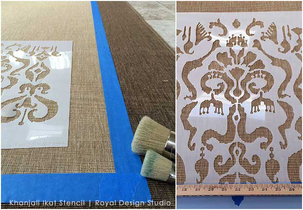 Ikat stencil from Royal Design Studio turns an inexpensive IKEA rug into an Oriental carpet