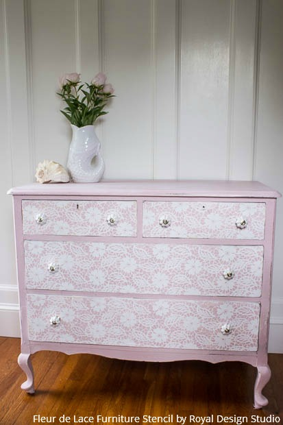 A Stenciled Lace Dresser That S Fit For A Princess Paint
