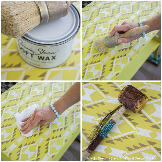 Using Clear Wax over a Chalk Paint® table top that was stenciled with a Navajo stencil from Royal Design Studio