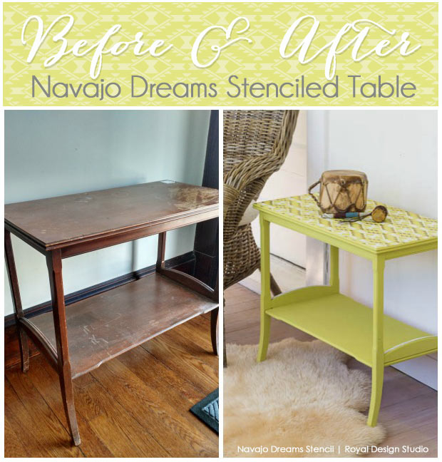 Stencil Before and After. Use Chalk Paint® and a Navajo stencil for a fresh look on an old tabletop