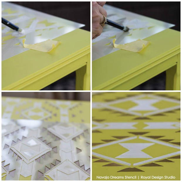 Stenciling with Chalk Paint® and the Navajo Dreams stencil from Royal Design Studio. How to on Paint+Pattern