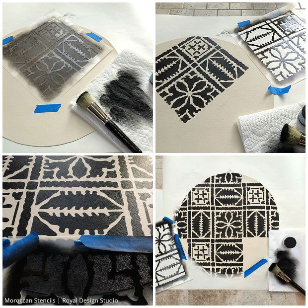 DIY Moroccan Decor: Stenciled Moroccan Pouf - Learn to Stencil Tutorial with Royal Design Studio Stencils