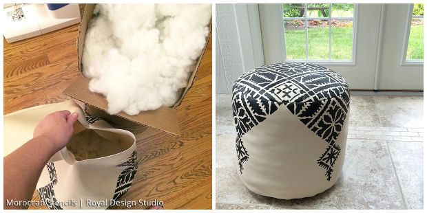 DIY Moroccan Decor: Stenciled Moroccan Pouf