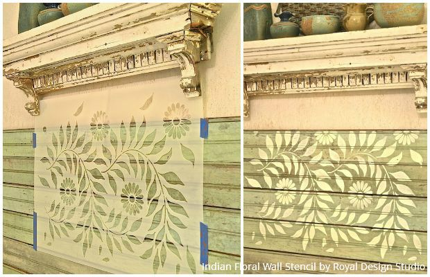 DIY Stencil Project: Painting a Wood Beadboard Headboard with Royal Design Studio's Indian Floral Wall Stencil