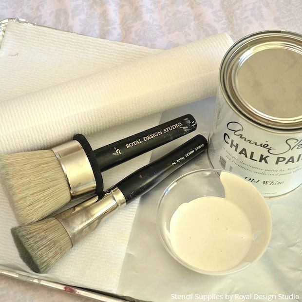 Supplies for Stenciling - Chalk Paint and Stencil Brushes from Royal Design Studio