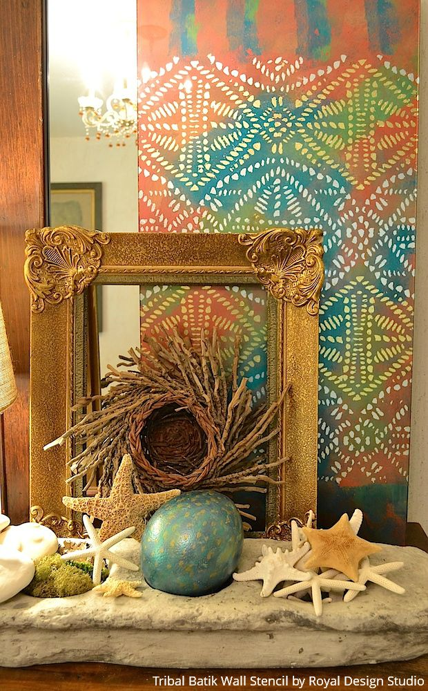 DIY Colorful Glass Wall Art with Stencils - DIY Craft Tutorial using Royal Design Studio Wall Stencils