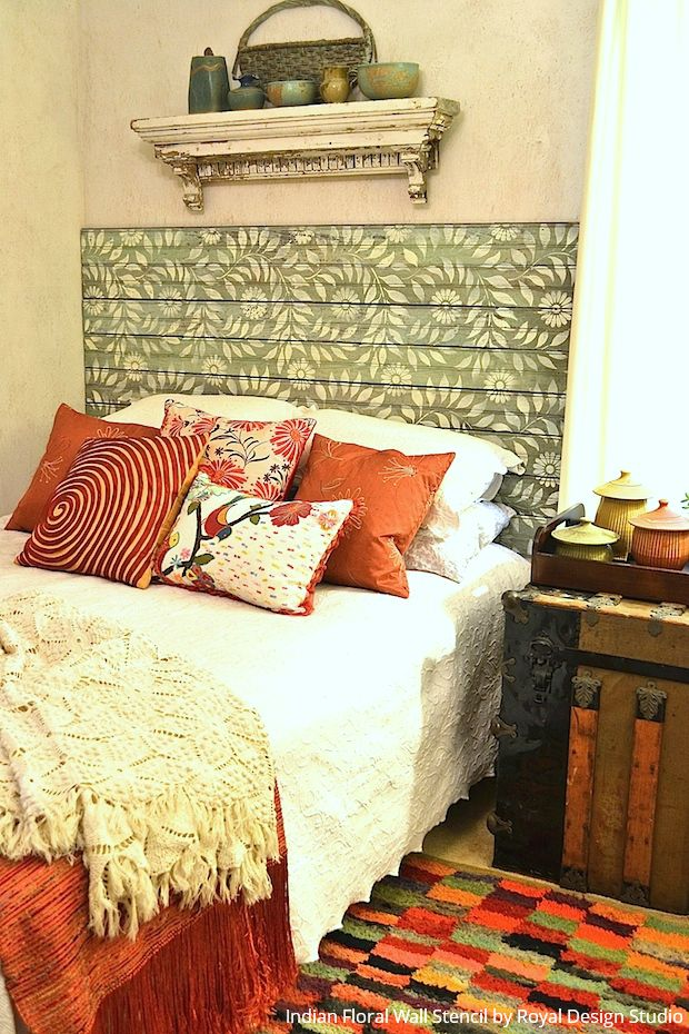 DIY Stencil Project: Stenciling a Beadboard Headboard - Paint + Pattern