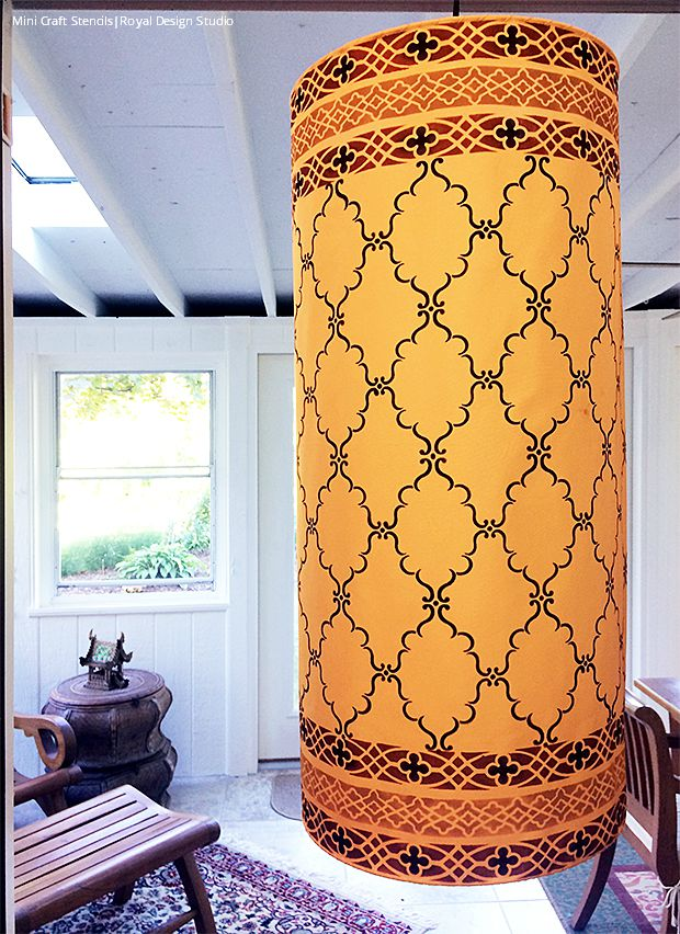 DIY Tutorial - Stenciled Arabian Nights Pendant Light using Royal Design Studio Craft Stencils
