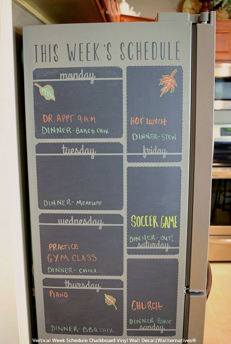Weekly Schedule Keeps Tasks from FALL-ing Off Radar - DIY Kitchen Decor and Command Center using Weekly Schedule Chalkboard Wall Decals