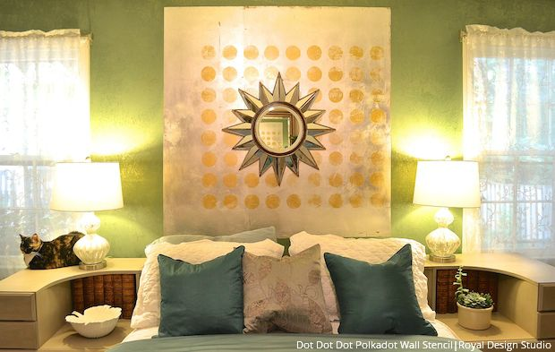 Spot On! DIY a Metallic Wall Art Headboard DIY Tutorial using Large Modern Wall Stencils and Foil