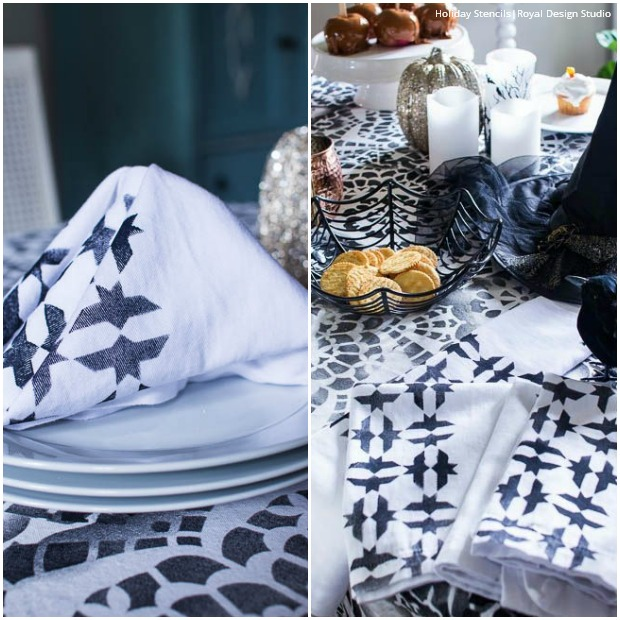 Stencil a Chic Halloween Party Table Decor using Royal Design Studio Holiday Stencils