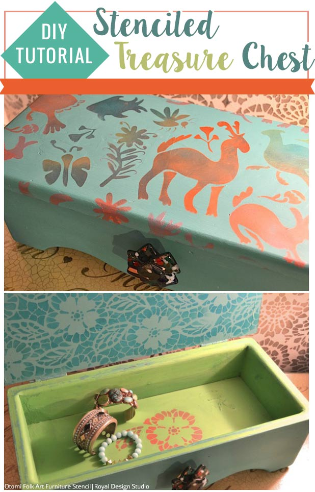 DIY Tutorial: Stenciled Jewelry Box Treasure Chest