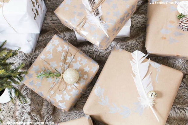 DIY Tutorial with Holiday Stencils - Stenciled Christmas Wrapping Paper - Almost Too Beautiful to Tear Open