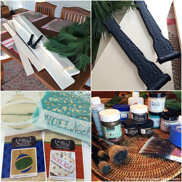 Christmas Stencil Tutorial: Rustic Shutter Holiday Table Centerpiece