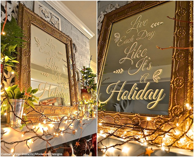 DIY Tutorial - Stencil A Holiday Quote On A Mirror - Custom Vinyl Typography Stencils - Modello Designs