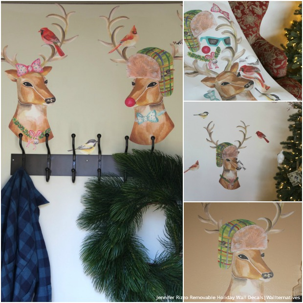 Kid Friendly and Easy Christmas Decorating Idea with Wallternatives Removable Wall Decals - Dress Up a Reindeer and Christmas Tree!