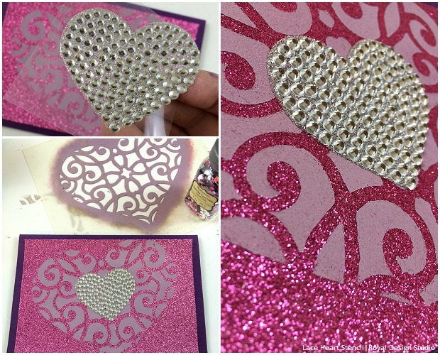 DIY Stenciled Valentine's Day Cards with Craft Heart Stencils - Royal Design Studio