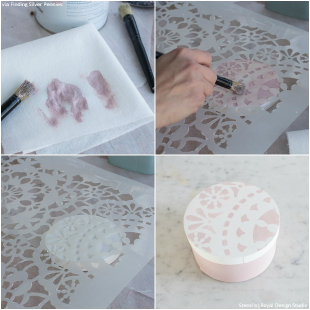 Sweetly Stenciled Valentine's Day Craft Candy Boxes - Royal Design Studio DIY Stencil Tutorial