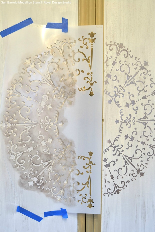 DIY Furniture Stencil Tutorial: Large Medallion Cabinet Makeover