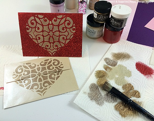 Diy Stenciled Valentine S Day Cards Paint Pattern