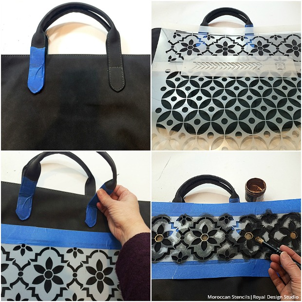 DIY Stencil Tutorial: Bohemian Tote Bag Painted with Royal Design Studio Moroccan Stencils
