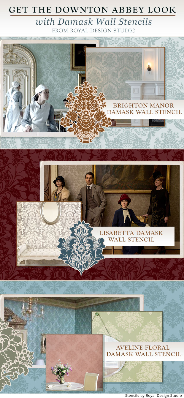 Get The Downton Abbey Look With Damask Wall Stencils Home Decorators Catalog Best Ideas of Home Decor and Design [homedecoratorscatalog.us]