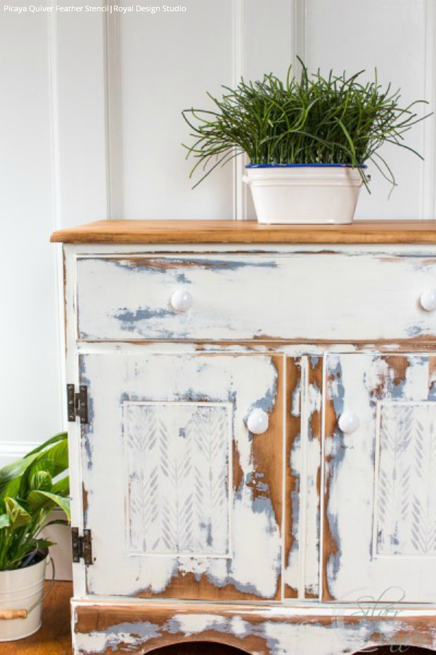 DIY Stenciled Furniture Tutorial: A Damsel in Distress using Royal Design Studio Furniture Stencils