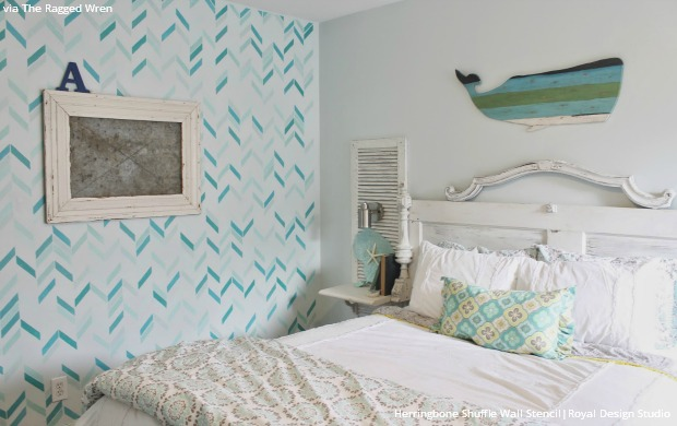 blue beach home decor style wall stencils
