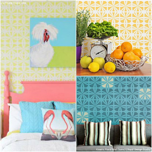 bright colorful wall stencils diy nautical palm beach style