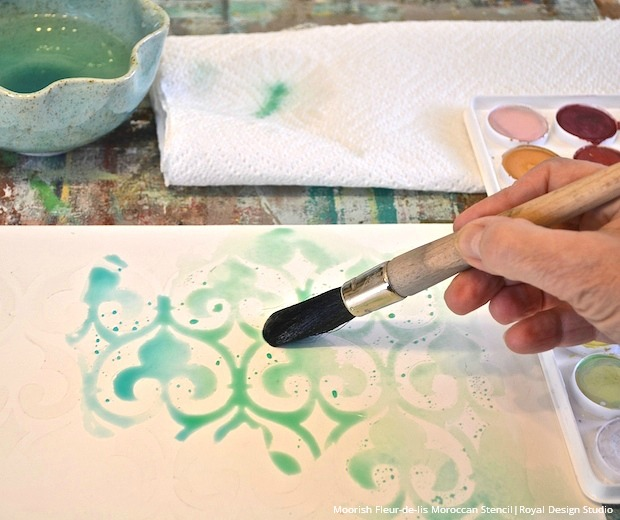 Watercolor Wall Art paint watercolor wall art with stencils - paint + pattern