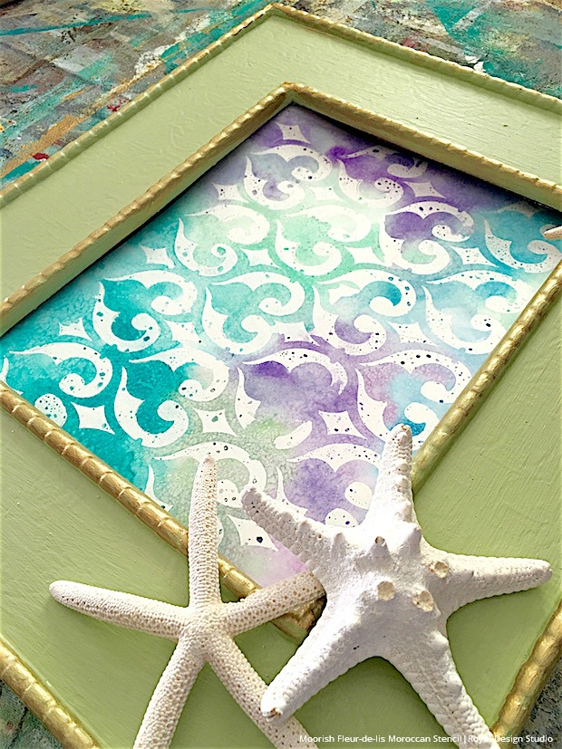 DIY Project Tutorial - Paint Watercolor Wall Art with Craft Stencils - Royal Design Studio