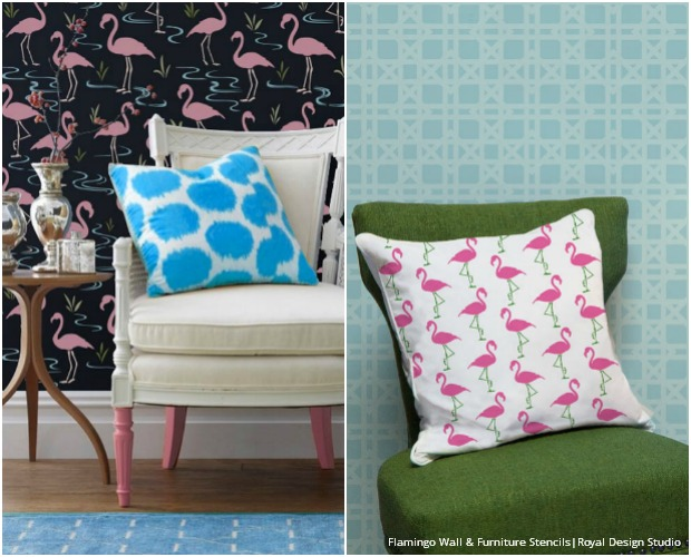 flamingo stencils cute colorful palm beach decor